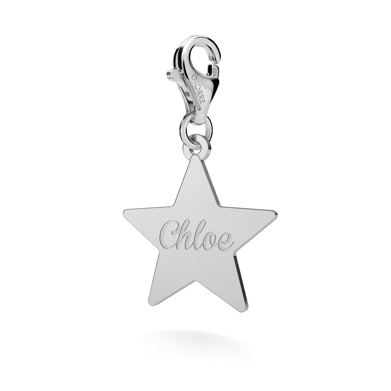 CHARM WITH ENGRAVE, STAR, SILVER 925,  RHODIUM OR GOLD PLATED