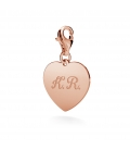 CHARM WITH ENGRAVE, HEART, SILVER 925,  RHODIUM OR GOLD PLATED