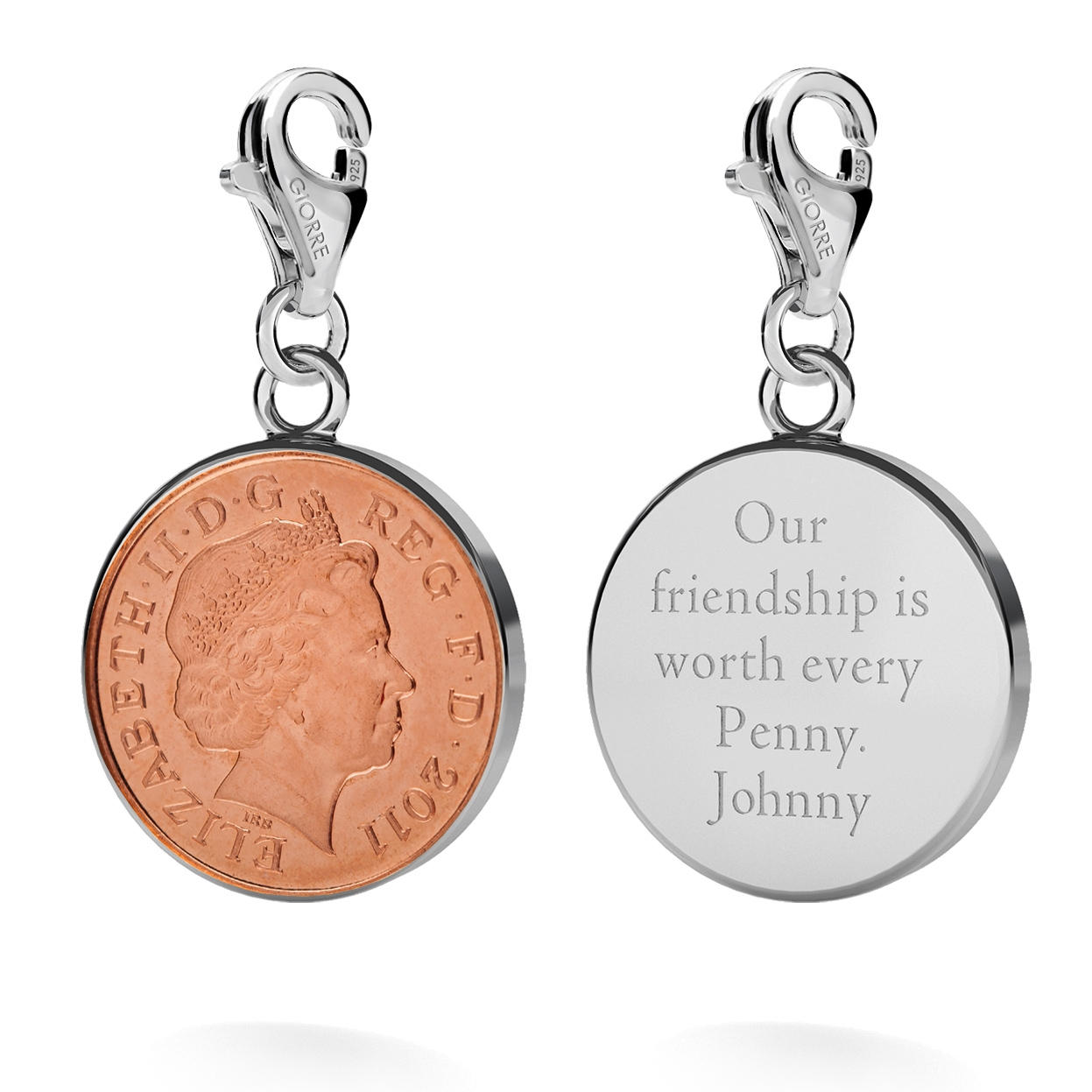 CHARM 45, LUCKY PENNY, SILVER 925,  RHODIUM OR GOLD PLATED