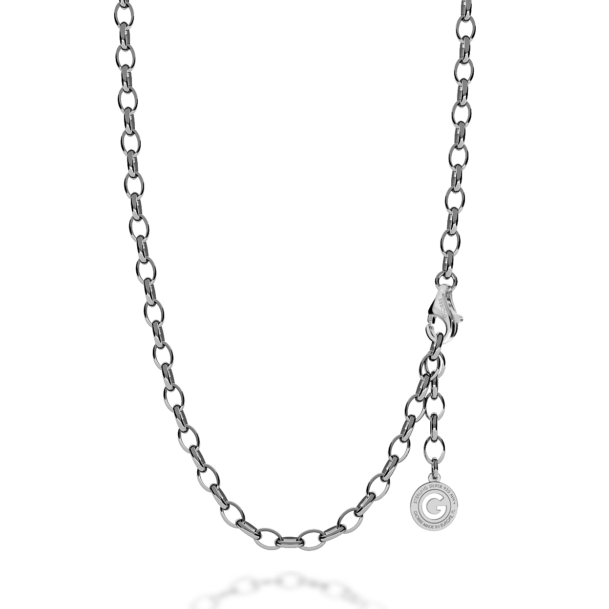 STERLING SILVER NECKLACE 55-65 CM BLACK RHODIUM, LIGHT RHODIUM CLASP, LINK 7X5 MM