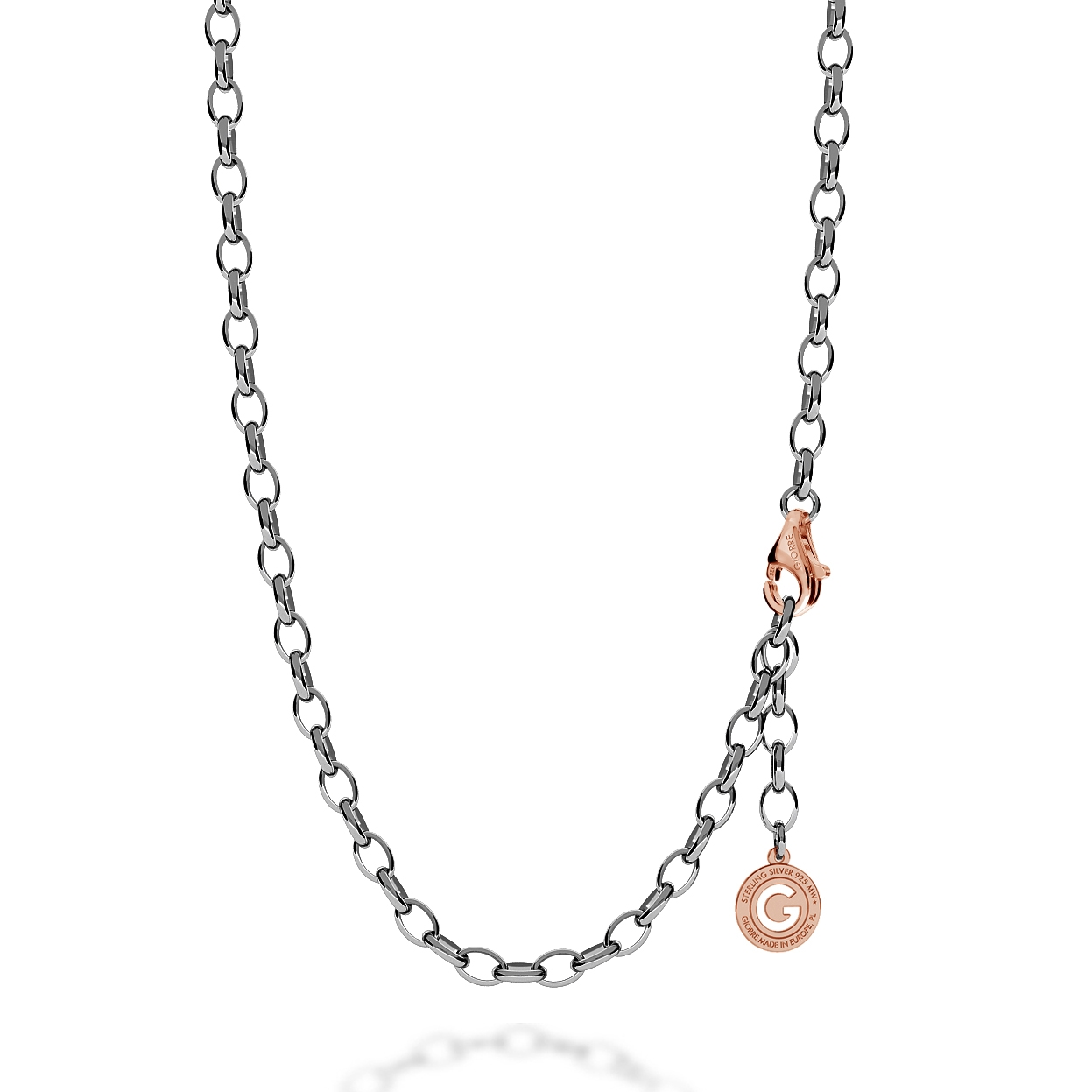 STERLING SILVER NECKLACE 55-65 CM BLACK RHODIUM, PINK GOLD CLASP, LINK 7X5 MM