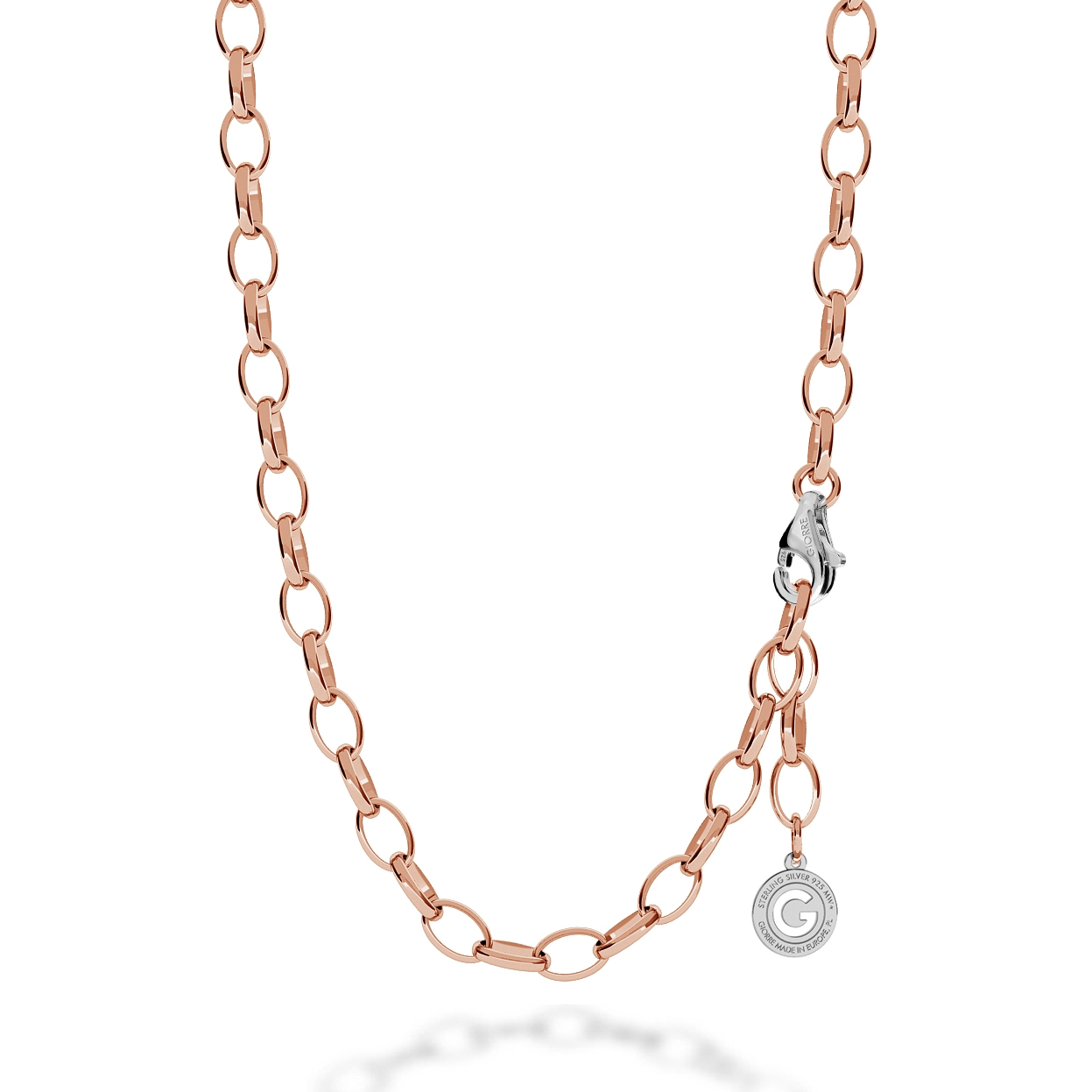 STERLING SILVER NECKLACE 55-65 CM PINK GOLD, LIGHT RHODIUM CLASP, LINK 9X6,5 MM