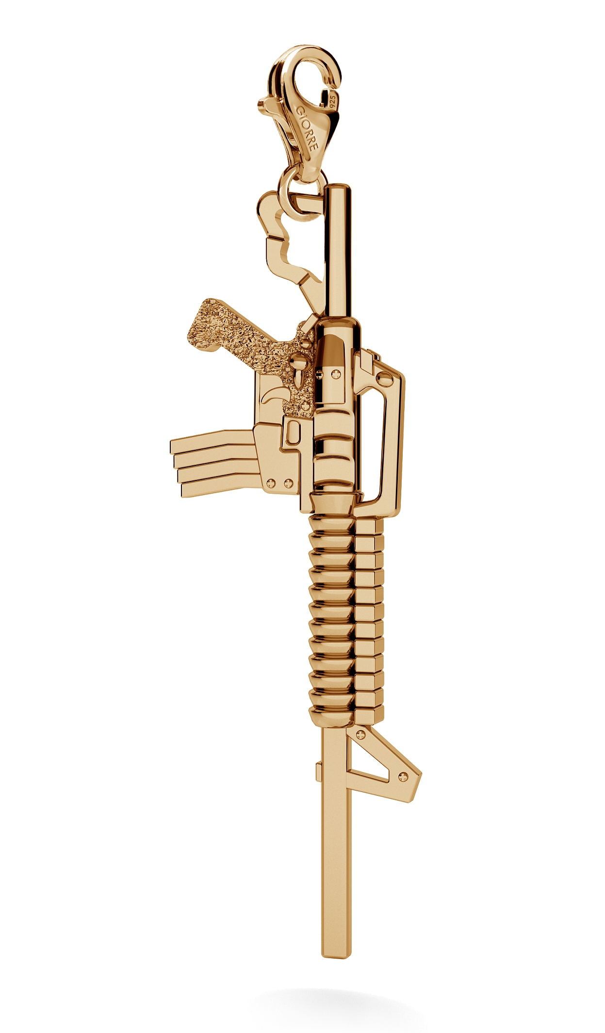 CHARM 90, BIG MACHINE GUN, SILVER 925,  RHODIUM OR GOLD PLATED