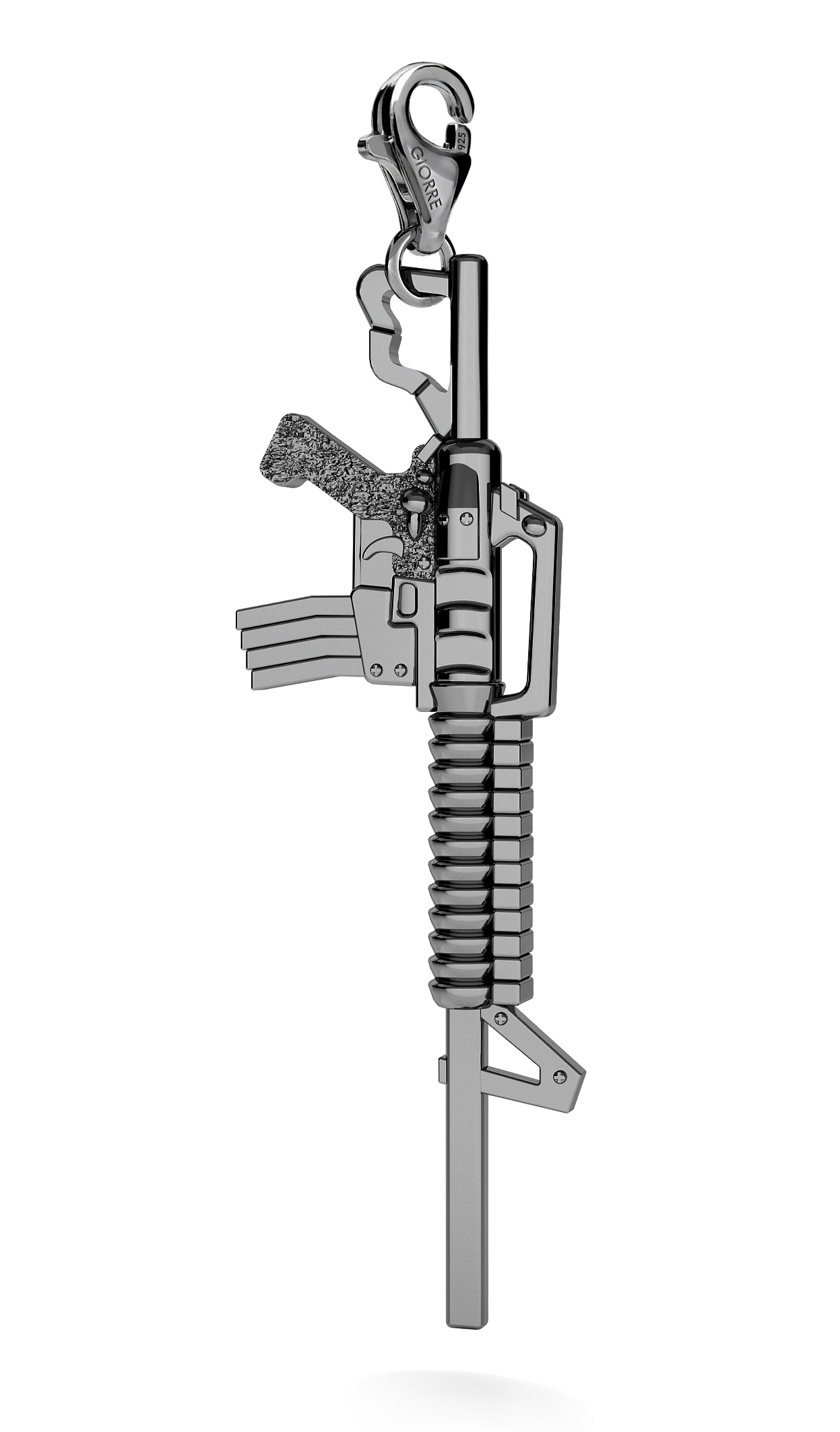 CHARM 90, BIG MACHINE GUN, SILVER 925,  RHODIUM OR GOLD PLATED