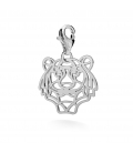 CHARM 92, TIGER HEAD OPENWORK, SILVER 925,  RHODIUM OR GOLD PLATED