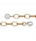 STERLING SILVER BRACELET 16-24 CM YELLOW GOLD, LIGHT RHODIUM CLASP, LINK 9X6,5 MM