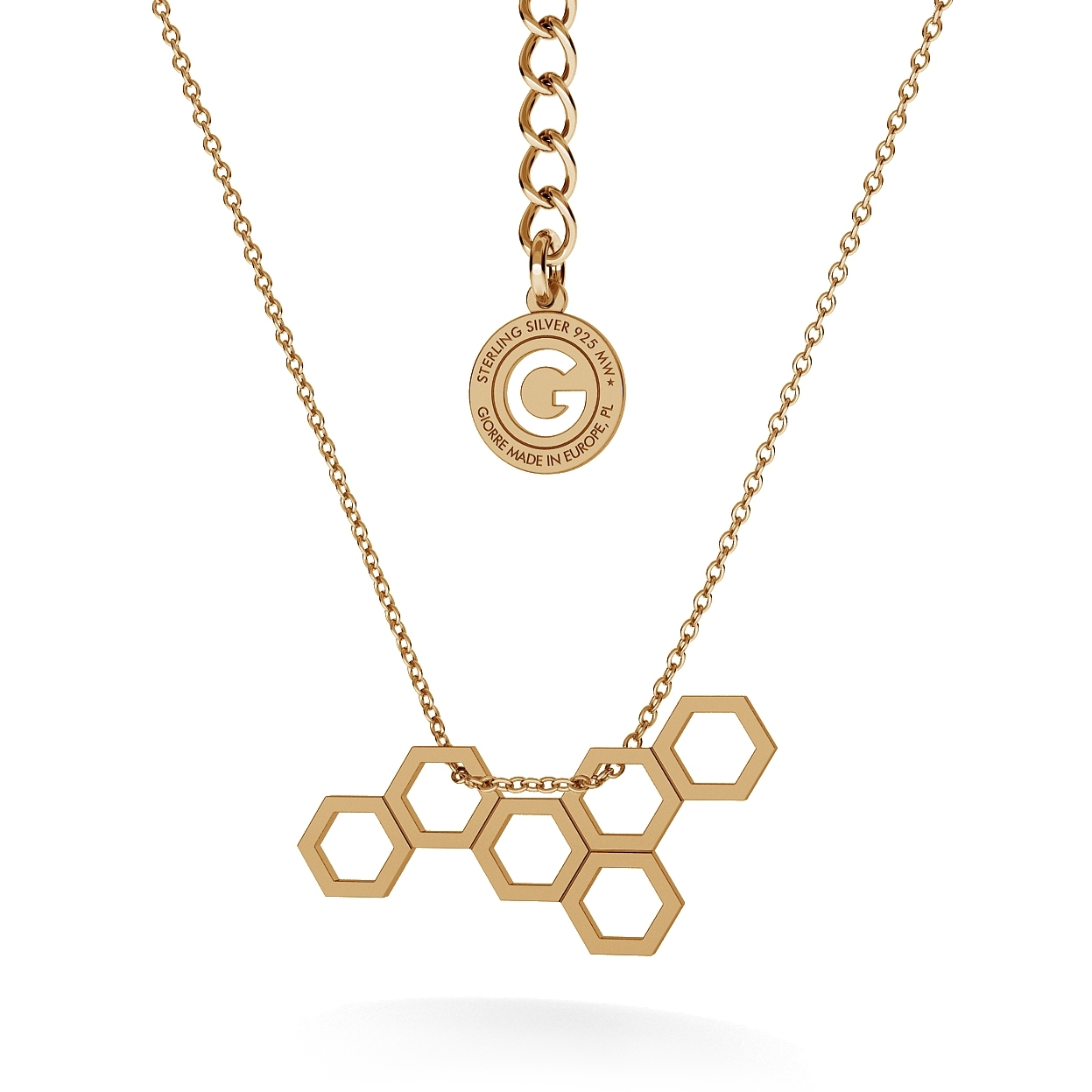 HONEYCOMB NECKLACE, RHODIUM OR 24K / 18K GOLD PLATED