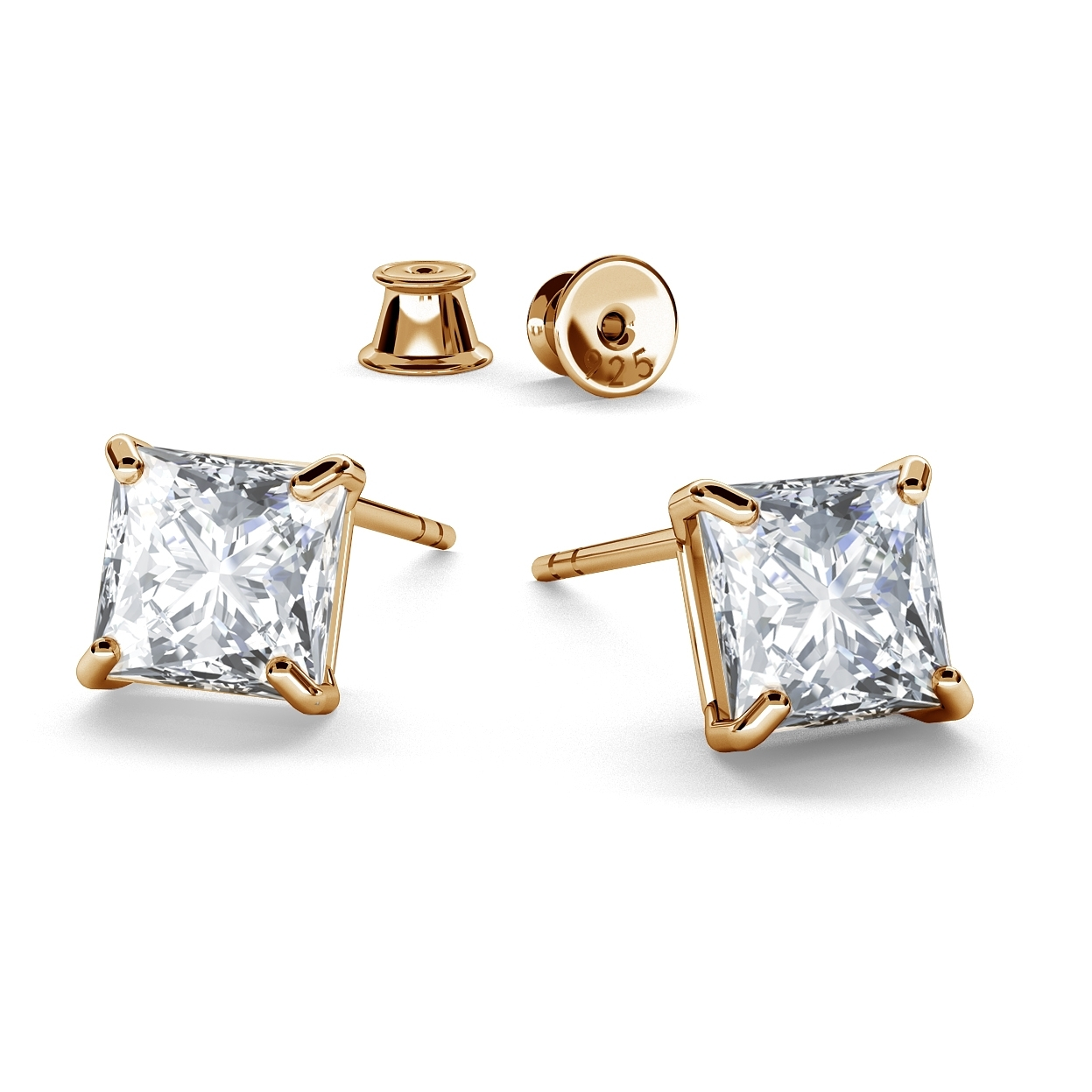 EARRINGS SWAROVSKI ZIRCONIA 6X6 MM, RHODIUM OR GOLD PLATED