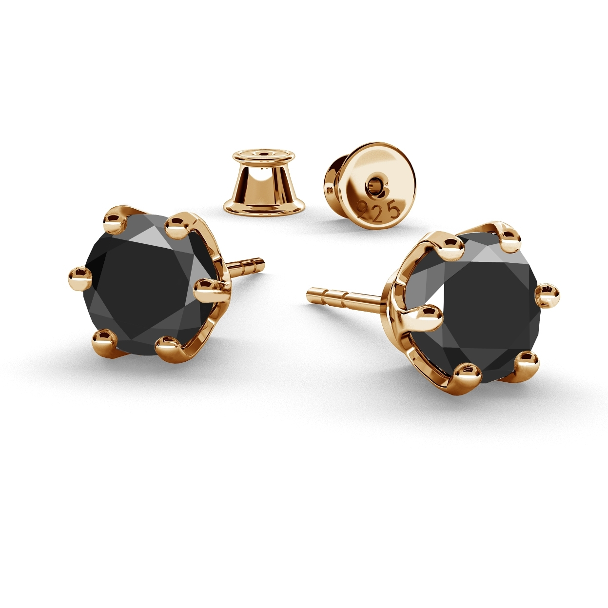 6MM BLACK DIAMOND EARRINGS 1.8K, RHODIUM OR GOLD PLATED