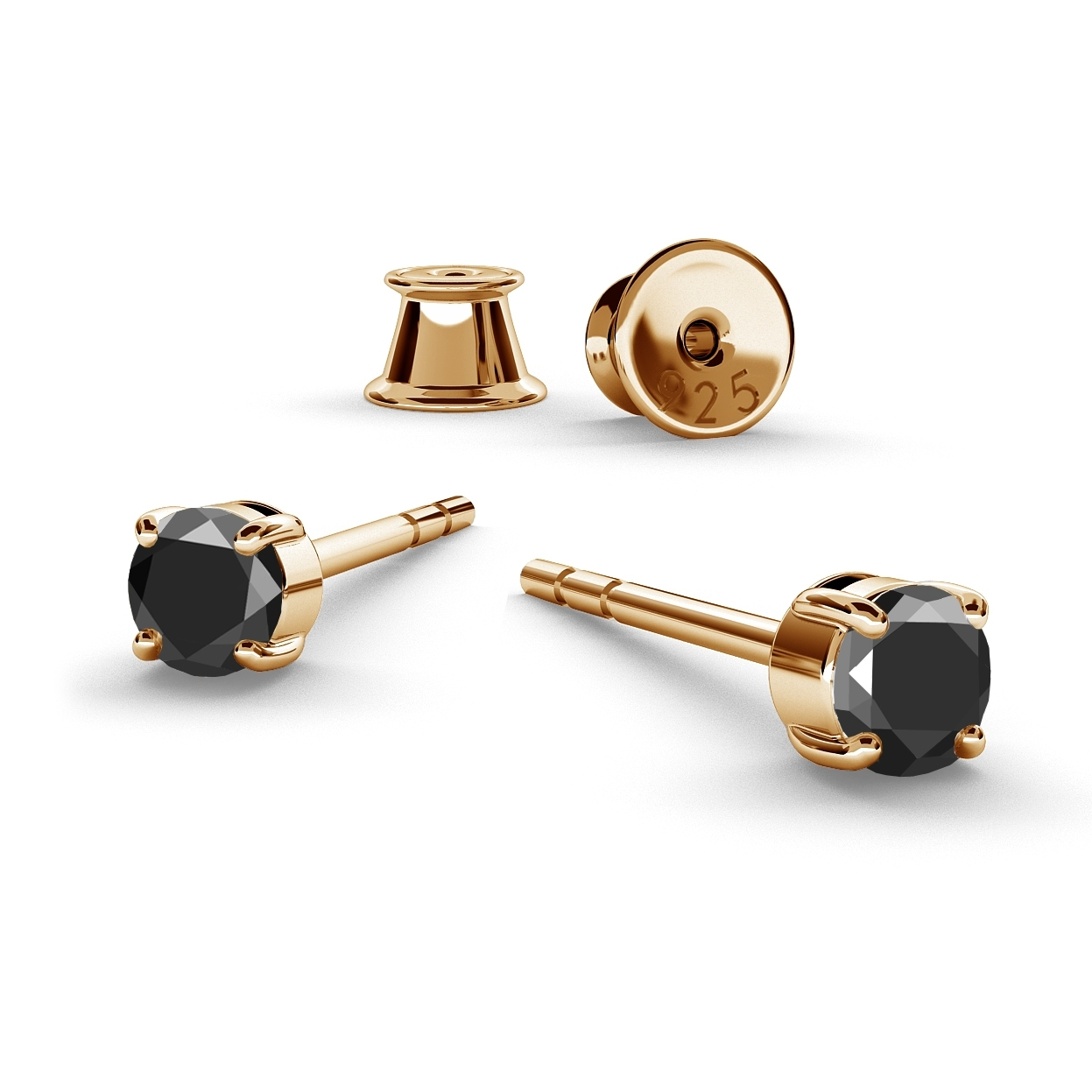 3MM BLACK DIAMOND EARRINGS 0.22K, RHODIUM OR GOLD PLATED