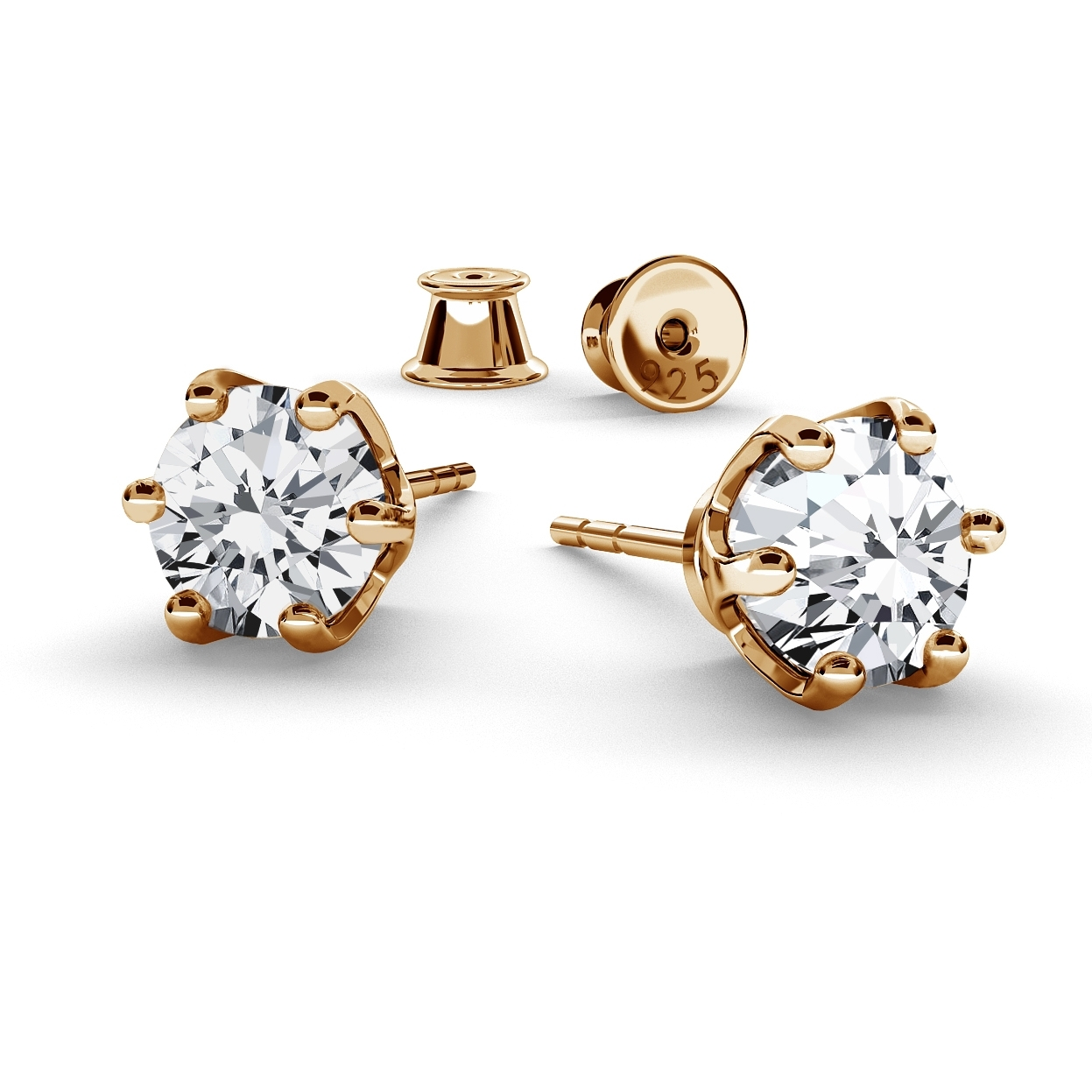 EARRINGS SWAROVSKI ZIRCONIA 6 MM, RHODIUM OR GOLD PLATED