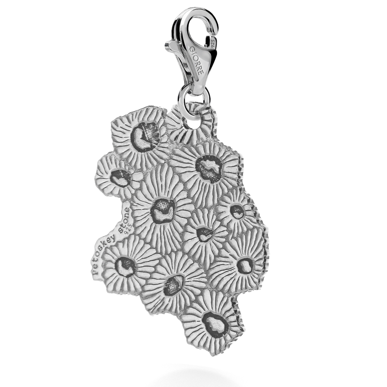 CHARM 8, PETOSKEY STONE, STERLING SILVER RHODIUM OR 24K GOLD PLATED