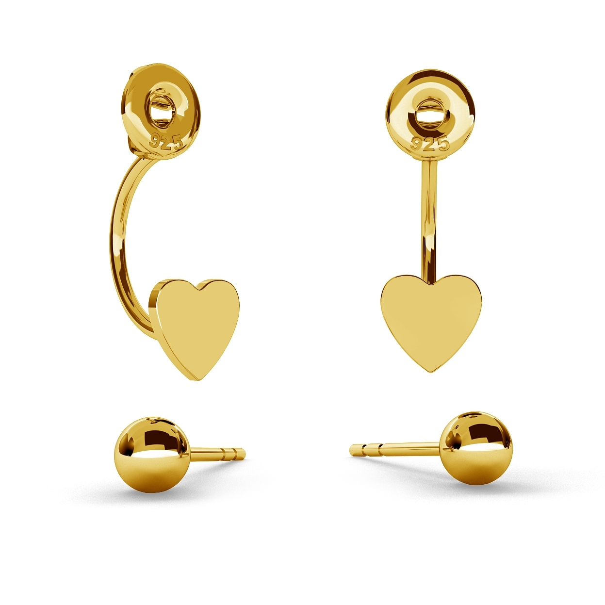 SWING EARRINGS BALL & HEART, STERLING SILVER (925) RHODIUM OR GOLD PLATED