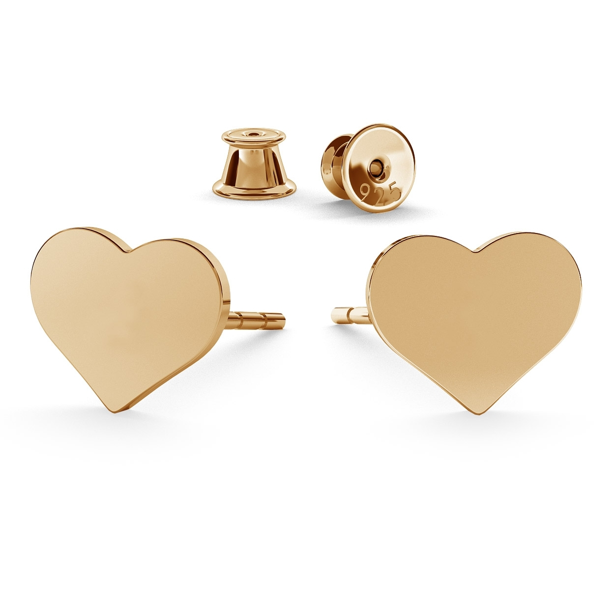 HEART EARRINGS WITH ENGRAVED, STERLING SILVER (925) RHODIUM OR GOLD PLATED