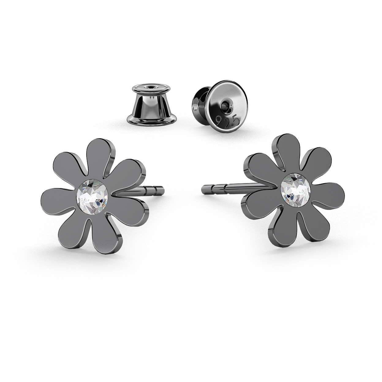 Daisy Earrings Studs, Swarovski 2058 Ss 7, Sterling Silver (925) Rhodium Or