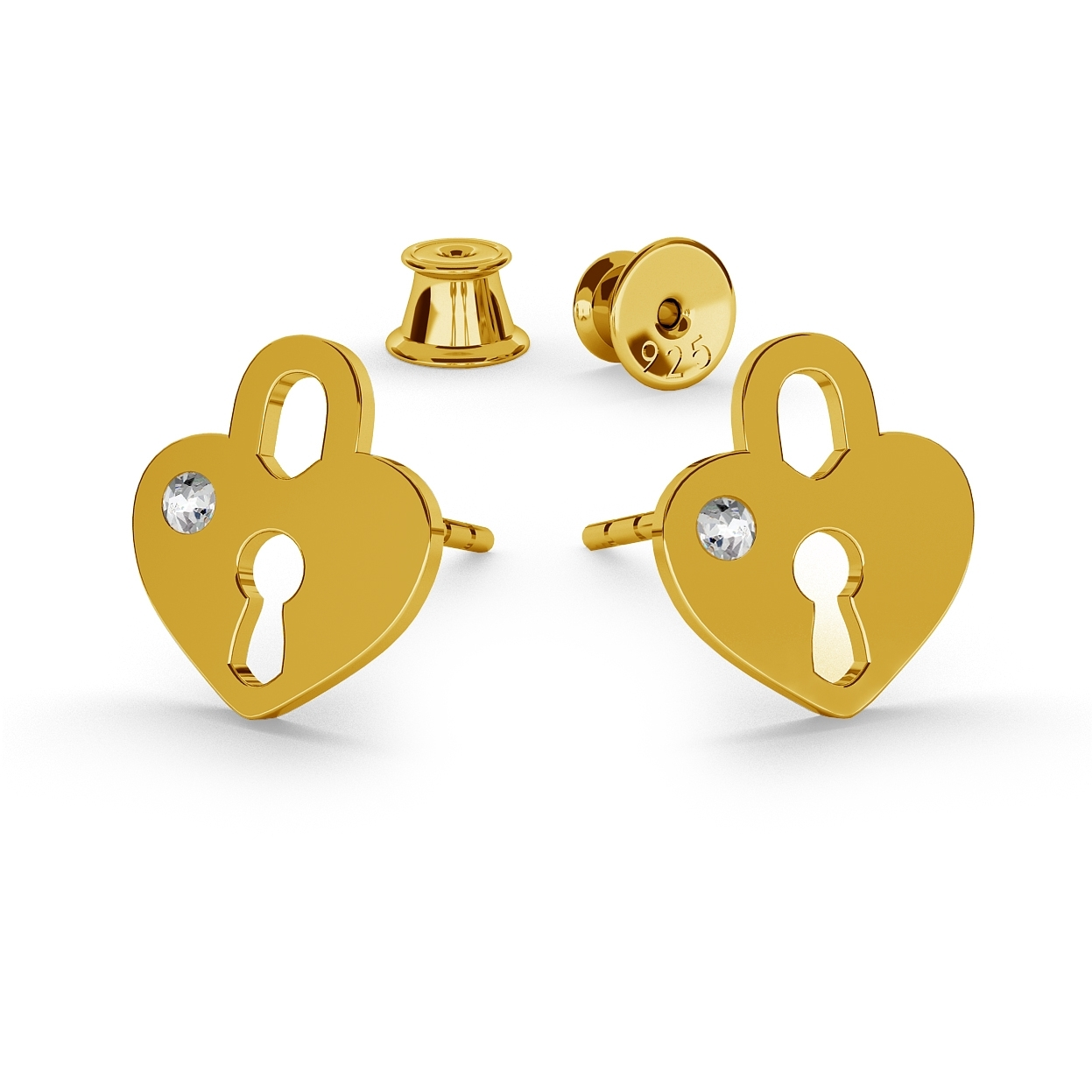 HEART PADLOCK EARRINGS, SWAROVSKI 2038 SS 6, STERLING SILVER (925) RHODIUM OR GOLD PLATED