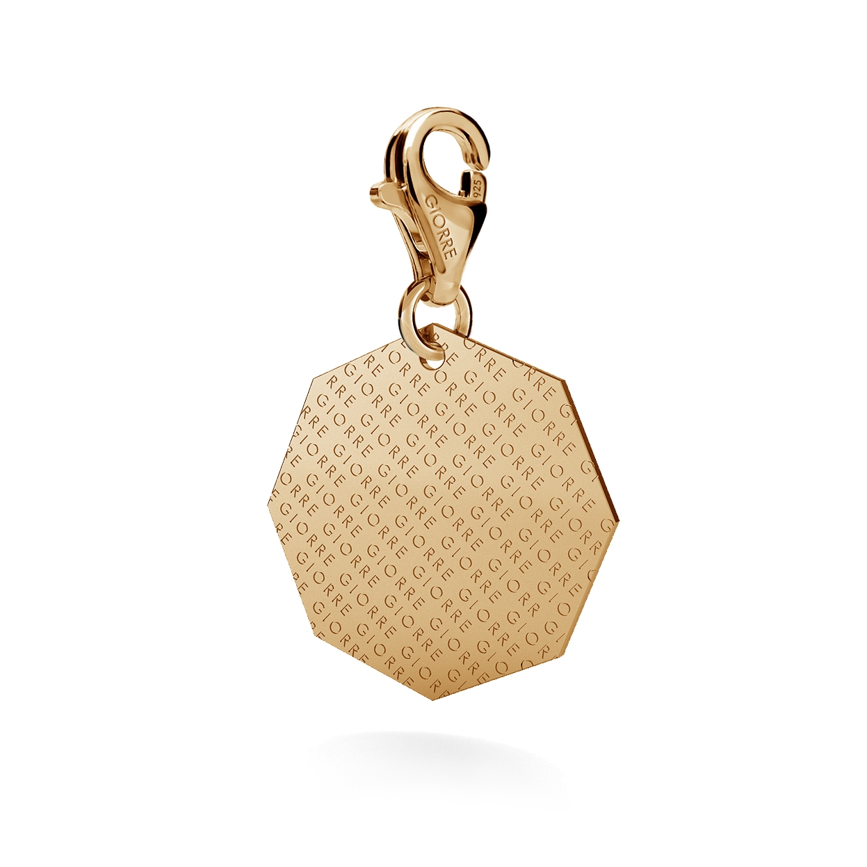 CHARM WITH ENGRAVE, OCTAGON, SILVER 925,  RHODIUM OR GOLD PLATED