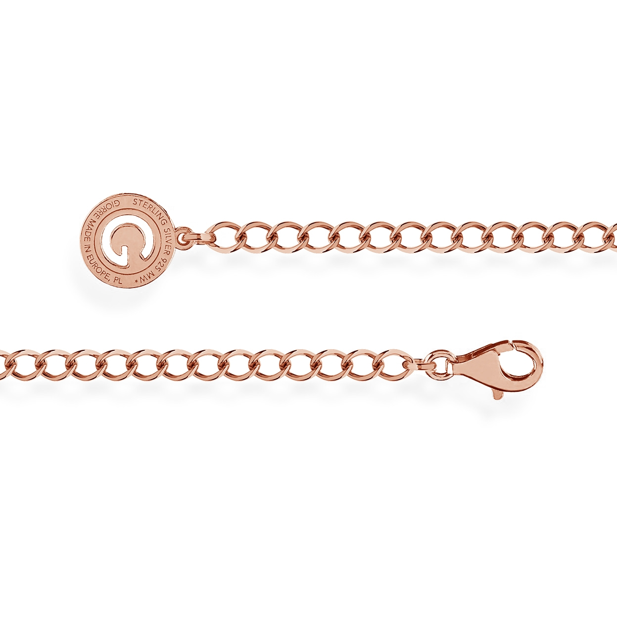 SILVER BRACELET ROMBO 16-24 CM, GOLD PLATED (PINK GOLD)
