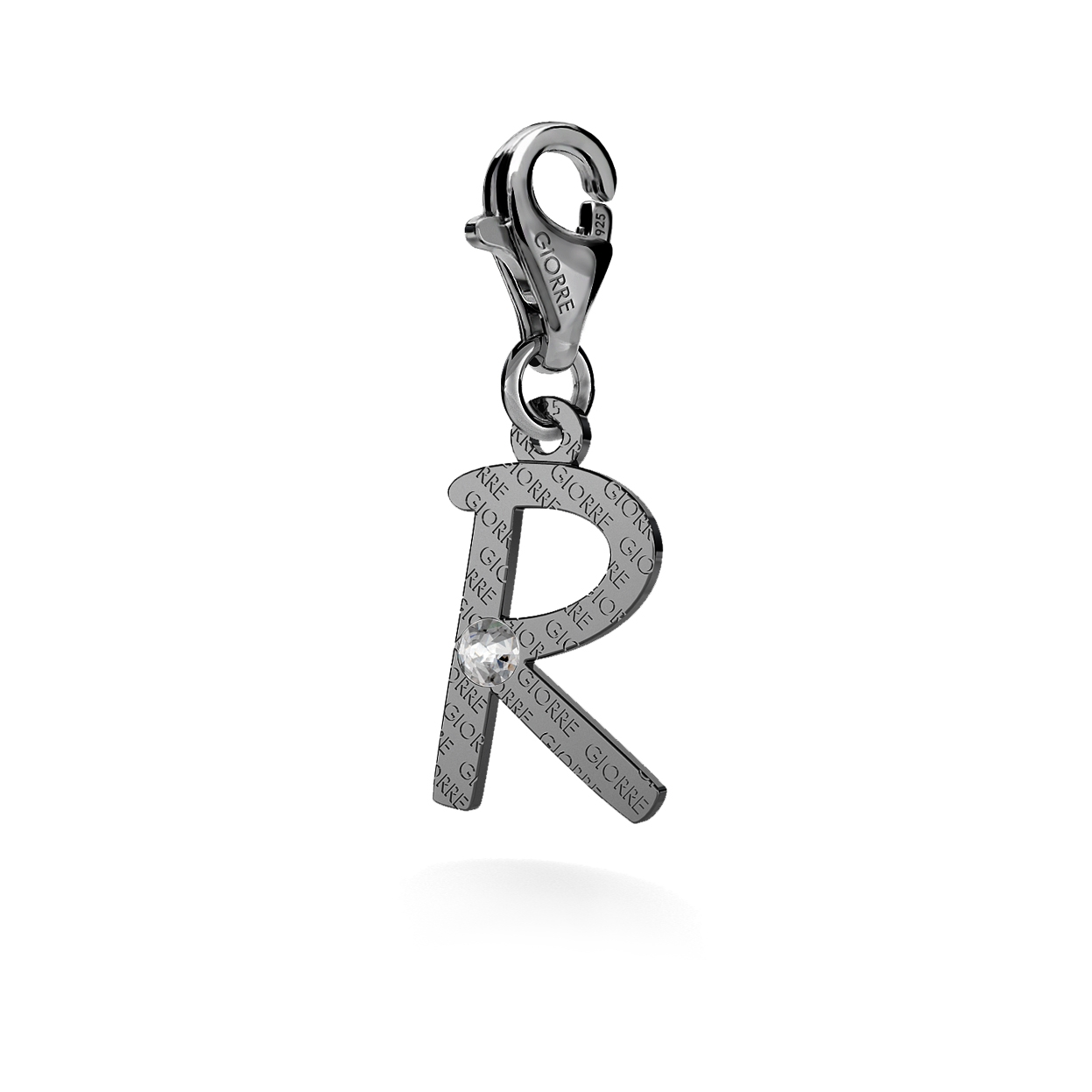 CHARM 28, LETTER R, SILVER 925,  RHODIUM OR GOLD PLATED