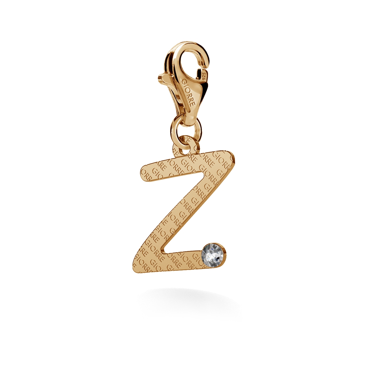 CHARM 28, LETTER Z, SILVER 925,  RHODIUM OR GOLD PLATED