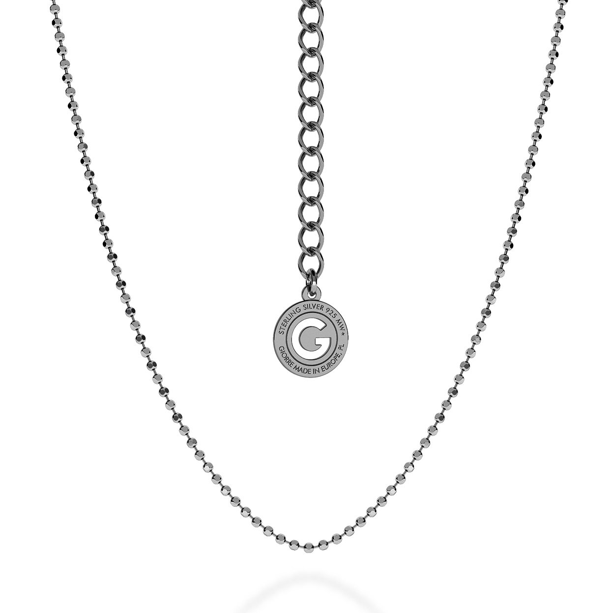 SILVER NECKLACE WITH BALLS 55 CM, RHODIUM PLATED (BLACK RHODIUM)