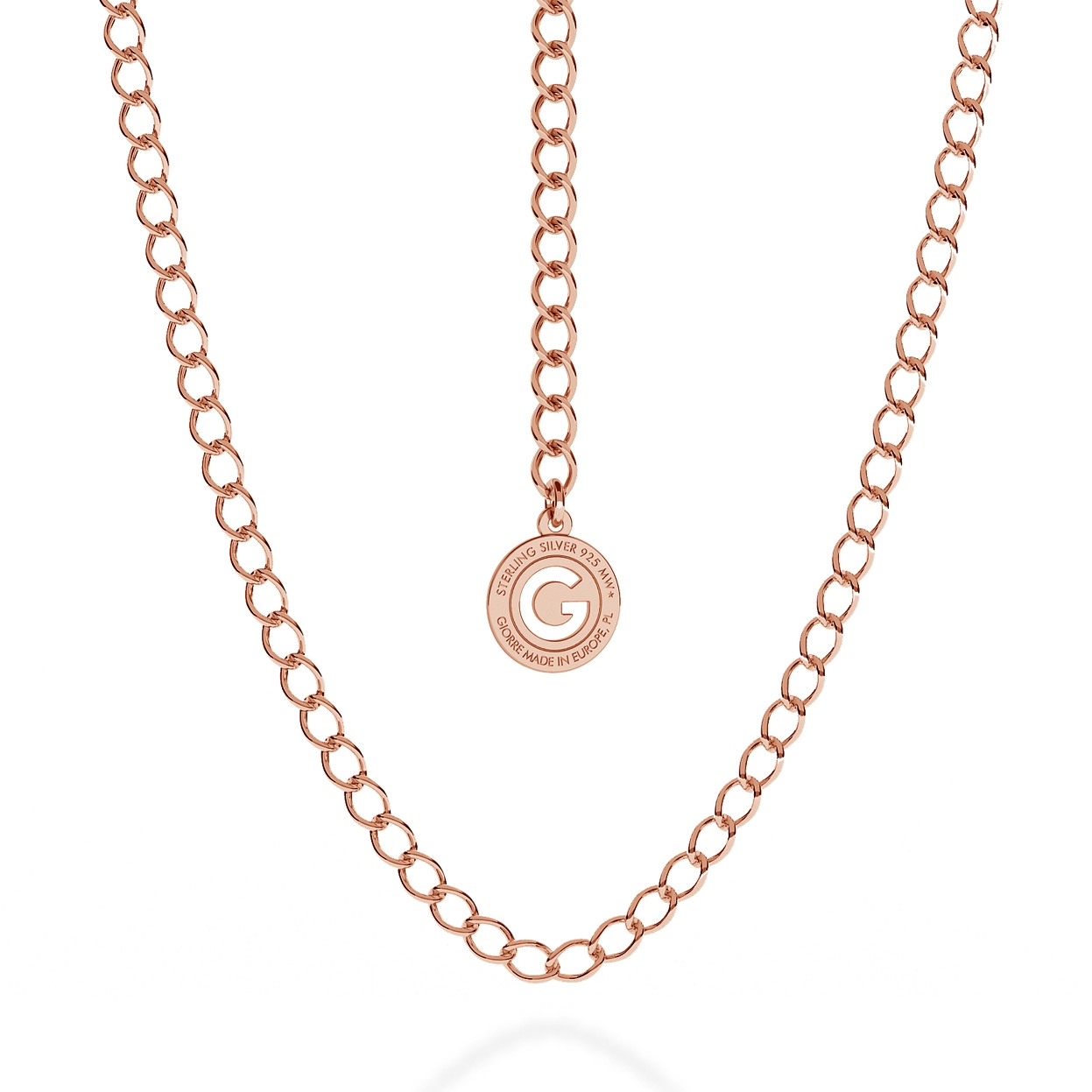 SILVER NECKLACE ROMBO 55-65 CM, GOLD PLATED (PINK GOLD)