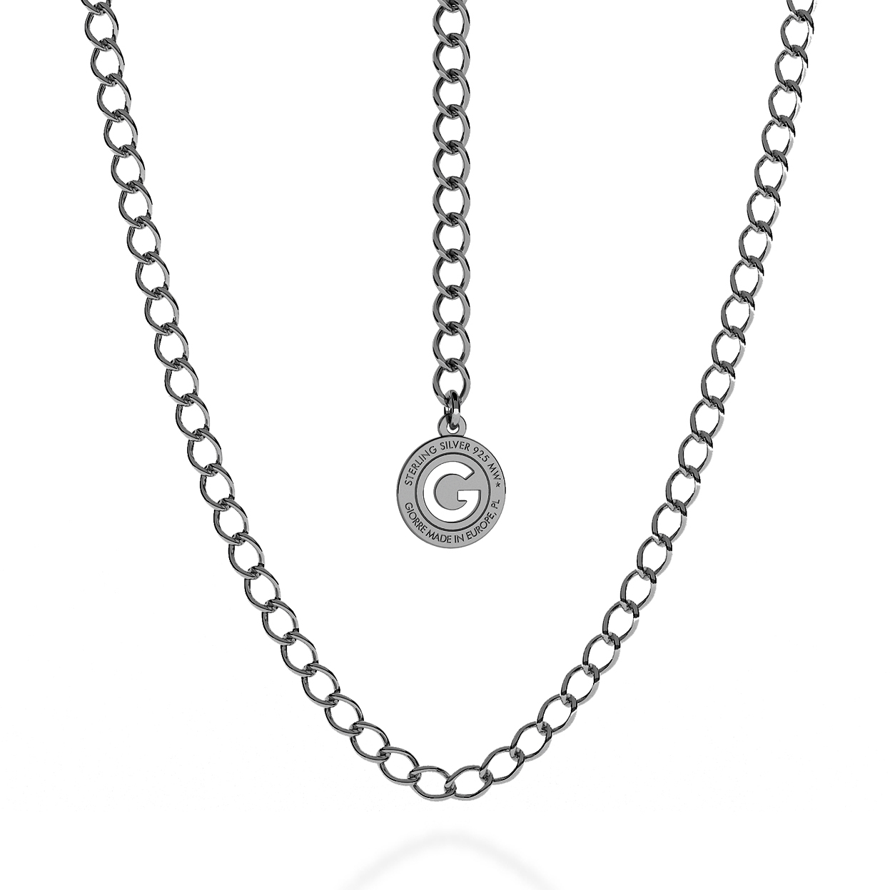 SILVER NECKLACE ROMBO 55-65 CM, RHODIUM PLATED (BLACK RHODIUM)