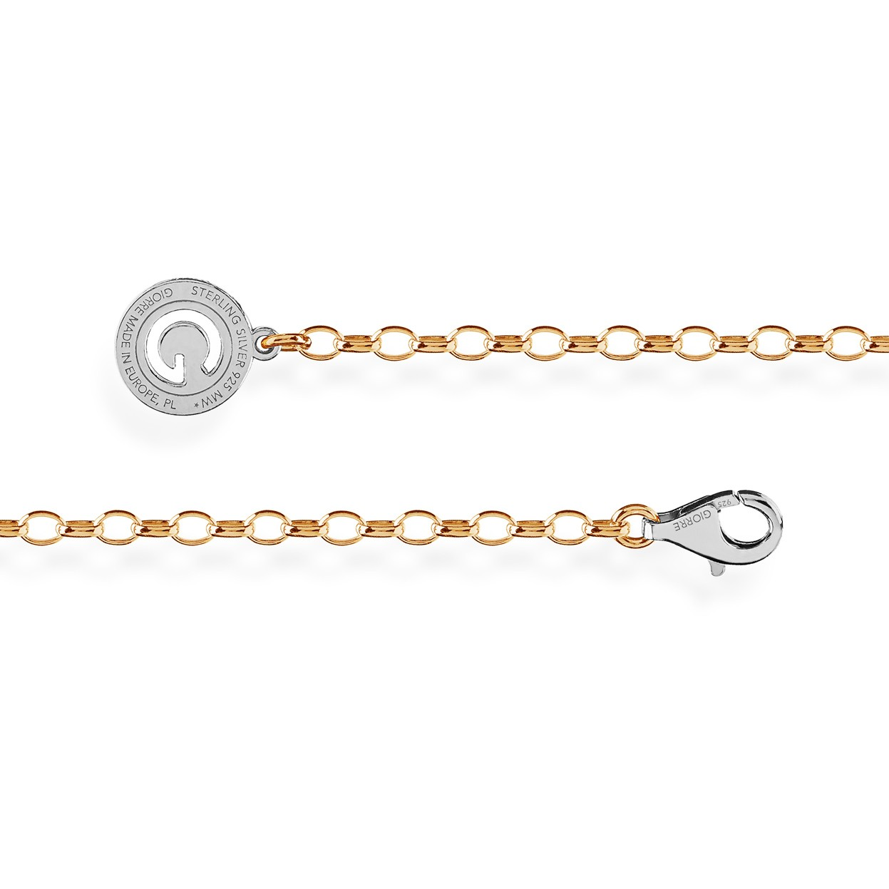 STERLING SILVER BRACELET 16-24 CM YELLOW GOLD, LIGHT RHODIUM CLASP, LINK 4X3 MM