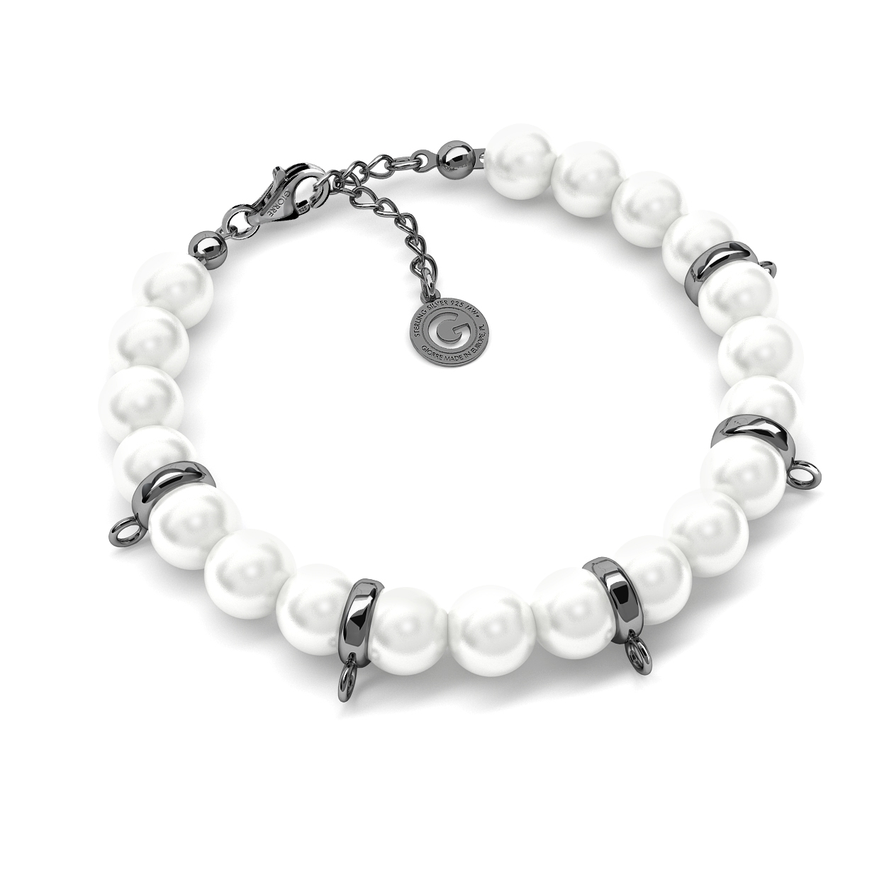 BRACELET WITH PEARLS, SILVER 925,  RHODIUM OR GOLD PLATED