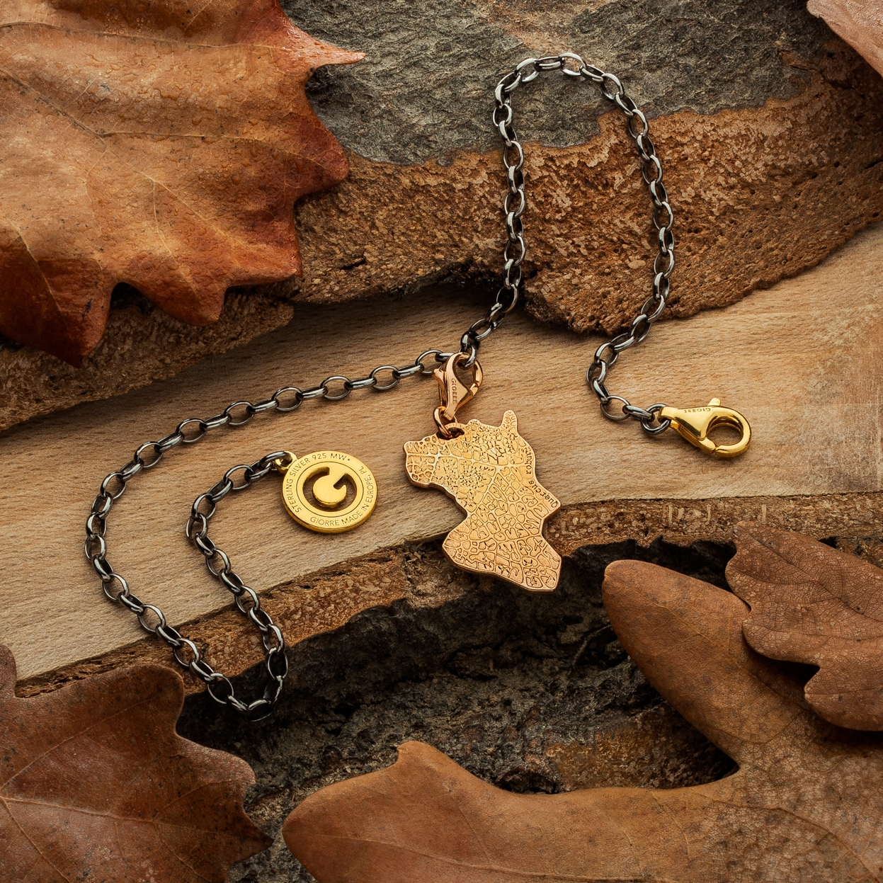 CHARMS 12, OAK LEAF,  STERLING SILVER RHODIUM OR 24K GOLD PLATED