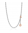 STERLING SILVER NECKLACE 55-65 CM BLACK RHODIUM, PINK GOLD CLASP, LINK 6X4 MM